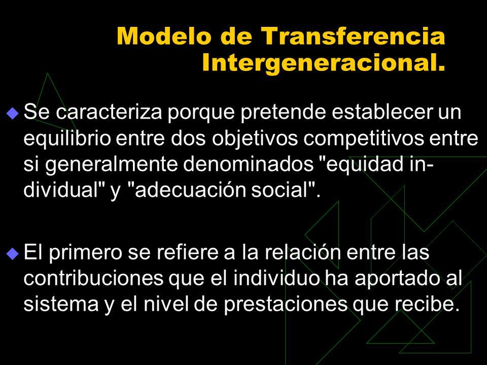Modelo de Transferencia Intergeneracional. Se caracteriza porque pretende establecer un equilibrio entre dos objetivos competitivos entre si generalme