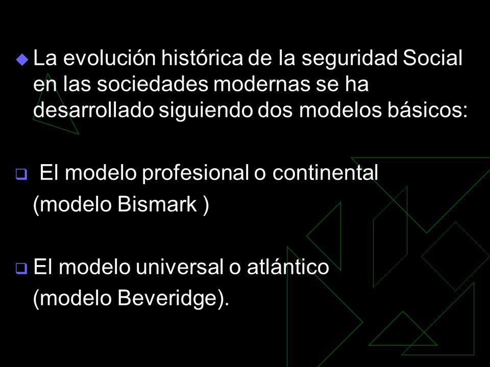 La evolución histórica de la seguridad Social en las sociedades modernas se ha desarrollado siguiendo dos modelos básicos: El modelo profesional o continental (modelo Bismark ) El modelo universal o atlántico (modelo Beveridge).