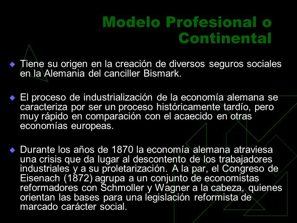 Modelo Profesional o Continental Tiene su origen en la creación de diversos seguros sociales en la Alemania del canciller Bismark. El proceso de indus