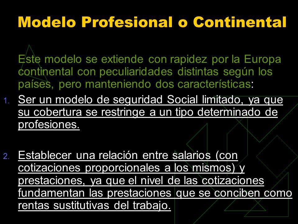 Modelo Profesional o Continental Este modelo se extiende con rapidez por la Europa continental con peculiaridades distintas según los países, pero manteniendo dos características: 1.
