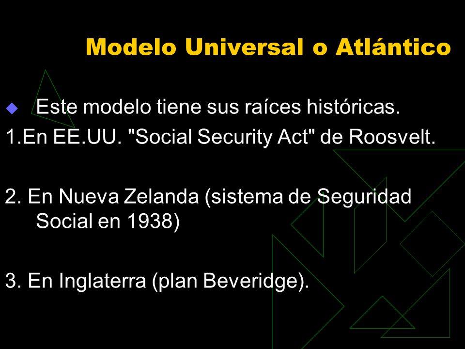 Modelo Universal o Atlántico Este modelo tiene sus raíces históricas. 1.En EE.UU.