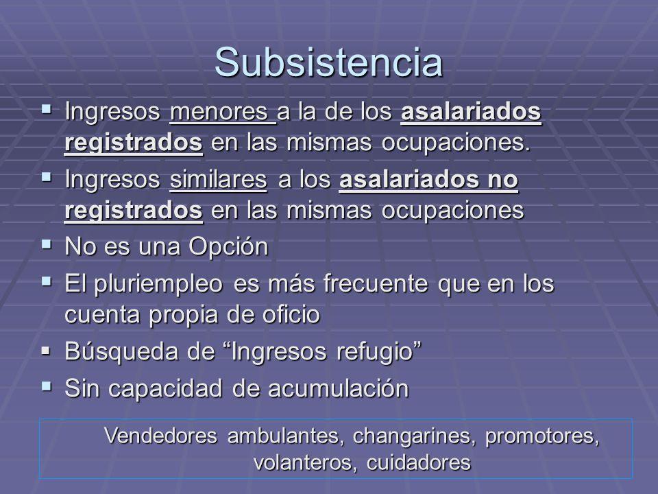 Subsistencia Ingresos menores a la de los asalariados registrados en las mismas ocupaciones.