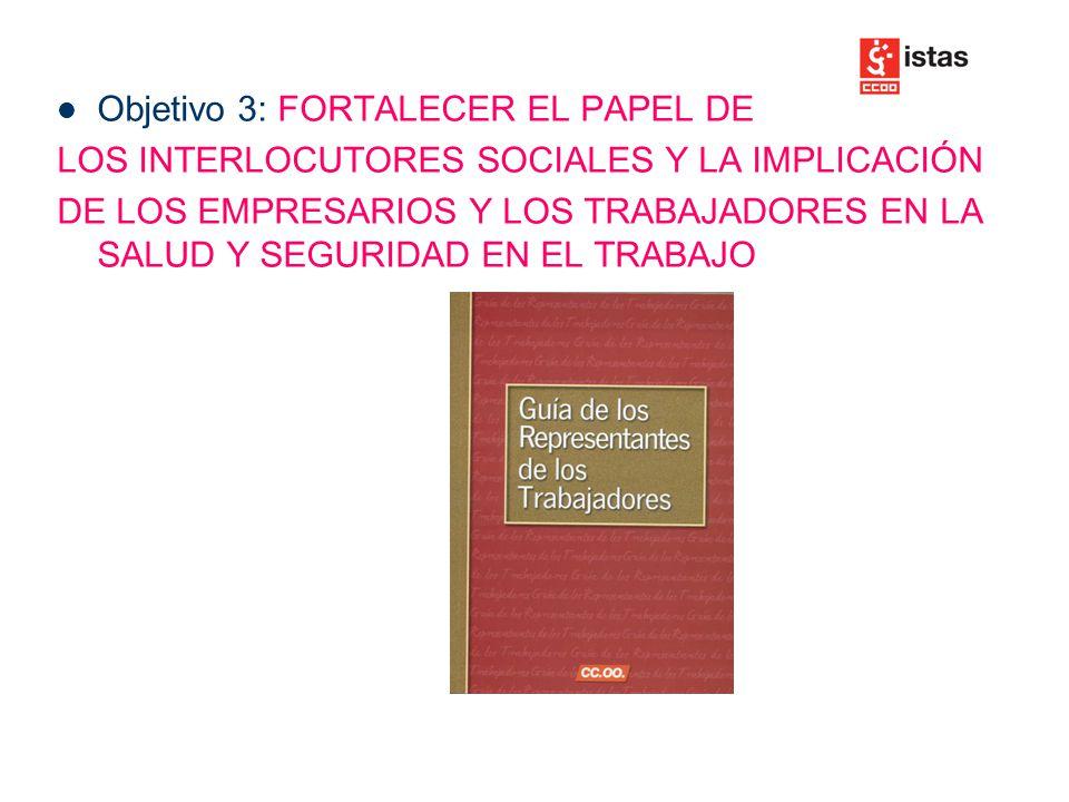Objetivo 3: FORTALECER EL PAPEL DE LOS INTERLOCUTORES SOCIALES Y LA IMPLICACIÓN DE LOS EMPRESARIOS Y LOS TRABAJADORES EN LA SALUD Y SEGURIDAD EN EL TRABAJO