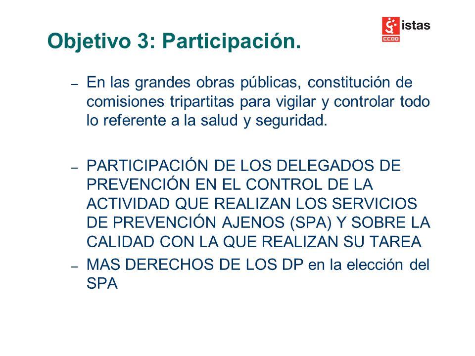– En las grandes obras públicas, constitución de comisiones tripartitas para vigilar y controlar todo lo referente a la salud y seguridad.