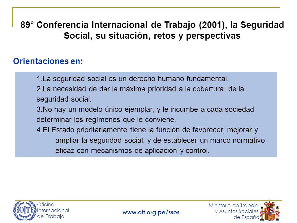 Oficina Internacional del Trabajo Ministerio de Trabajo y Asuntos Sociales de España www.oit.org.pe/ssos 89° Conferencia Internacional de Trabajo (2001), la Seguridad Social, su situación, retos y perspectivas Orientaciones en: 5.La importancia del diálogo social para asegurar la eficacia en la institución o ampliación de la seguridad social, en su evaluación, y en el desarrollo de opciones para hacer frente a cualquier desequilibrio financiero, así como en la participación de los interlocutores sociales en la formulación de la estrategia nacional, en la gestión de los sistemas nacionales y de los regímenes complementarios.