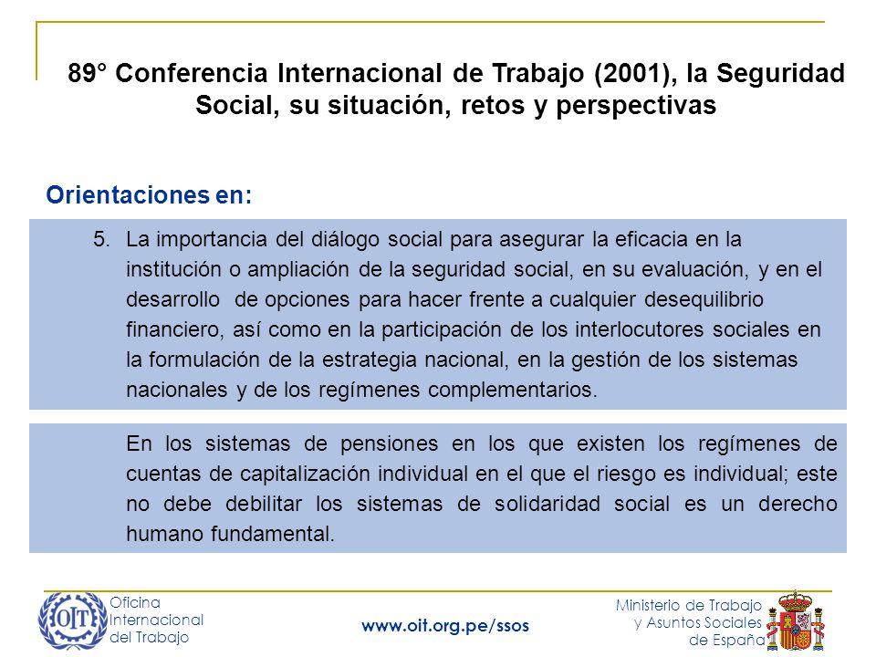 Oficina Internacional del Trabajo Ministerio de Trabajo y Asuntos Sociales de España www.oit.org.pe/ssos 89° Conferencia Internacional de Trabajo (2001), la Seguridad Social, su situación, retos y perspectivas 7.Los regímenes de pensiones obligatorios deben garantizar pensiones suficientes y solidaridad nacional.