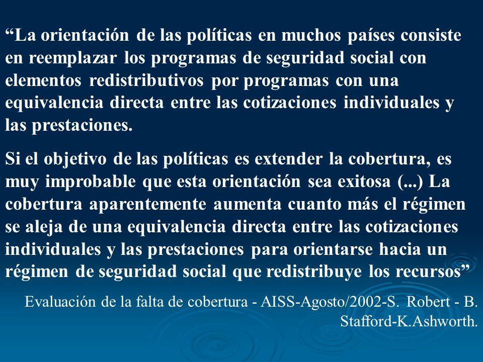 La orientación de las políticas en muchos países consiste en reemplazar los programas de seguridad social con elementos redistributivos por programas