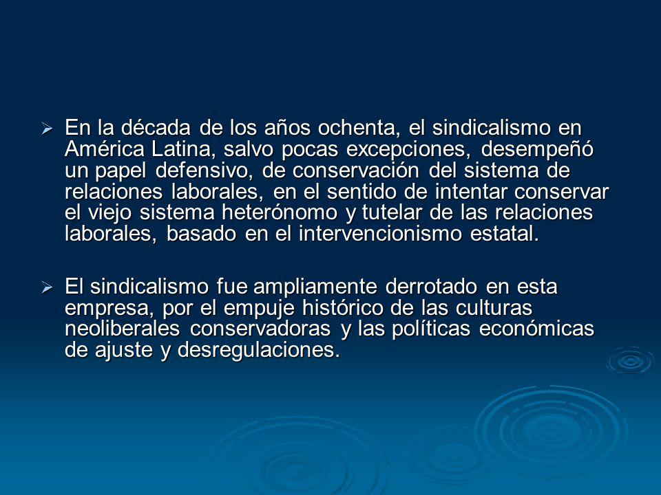 En la década de los años ochenta, el sindicalismo en América Latina, salvo pocas excepciones, desempeñó un papel defensivo, de conservación del sistem