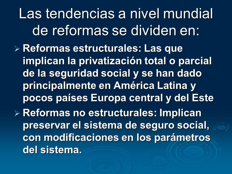 Las tendencias a nivel mundial de reformas se dividen en: Reformas estructurales: Las que implican la privatización total o parcial de la seguridad so