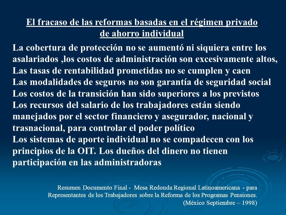 El fracaso de las reformas basadas en el régimen privado de ahorro individual Resumen Documento Final - Mesa Redonda Regional Latinoamericana - para R