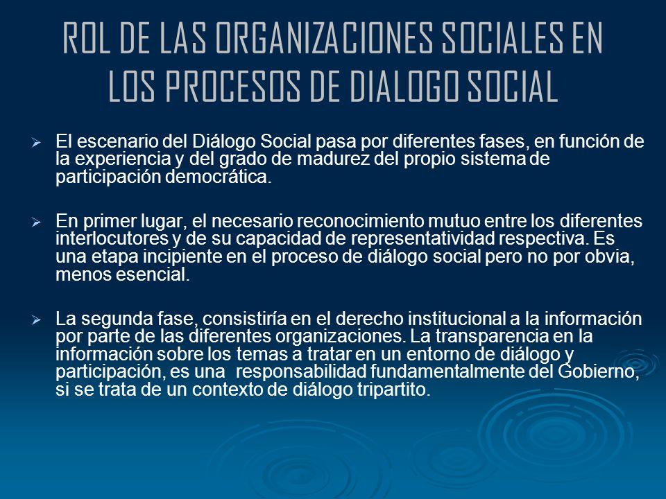 ROL DE LAS ORGANIZACIONES SOCIALES EN LOS PROCESOS DE DIALOGO SOCIAL El escenario del Diálogo Social pasa por diferentes fases, en función de la exper