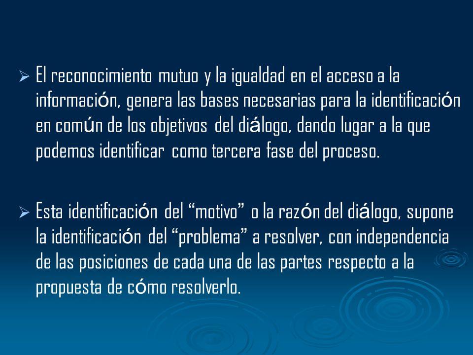 El reconocimiento mutuo y la igualdad en el acceso a la informaci ó n, genera las bases necesarias para la identificaci ó n en com ú n de los objetivo