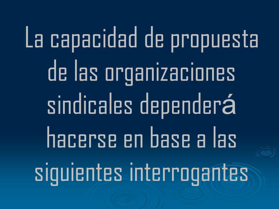 La capacidad de propuesta de las organizaciones sindicales depender á hacerse en base a las siguientes interrogantes