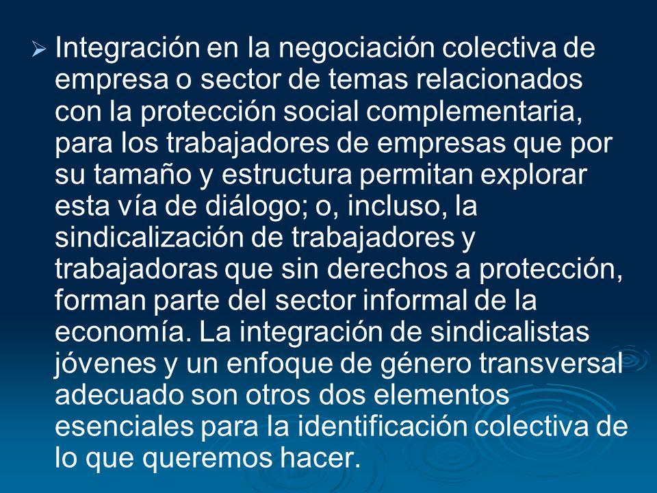 Integración en la negociación colectiva de empresa o sector de temas relacionados con la protección social complementaria, para los trabajadores de em