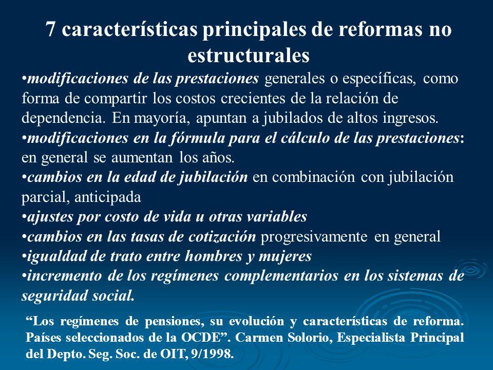 7 características principales de reformas no estructurales modificaciones de las prestaciones generales o específicas, como forma de compartir los cos