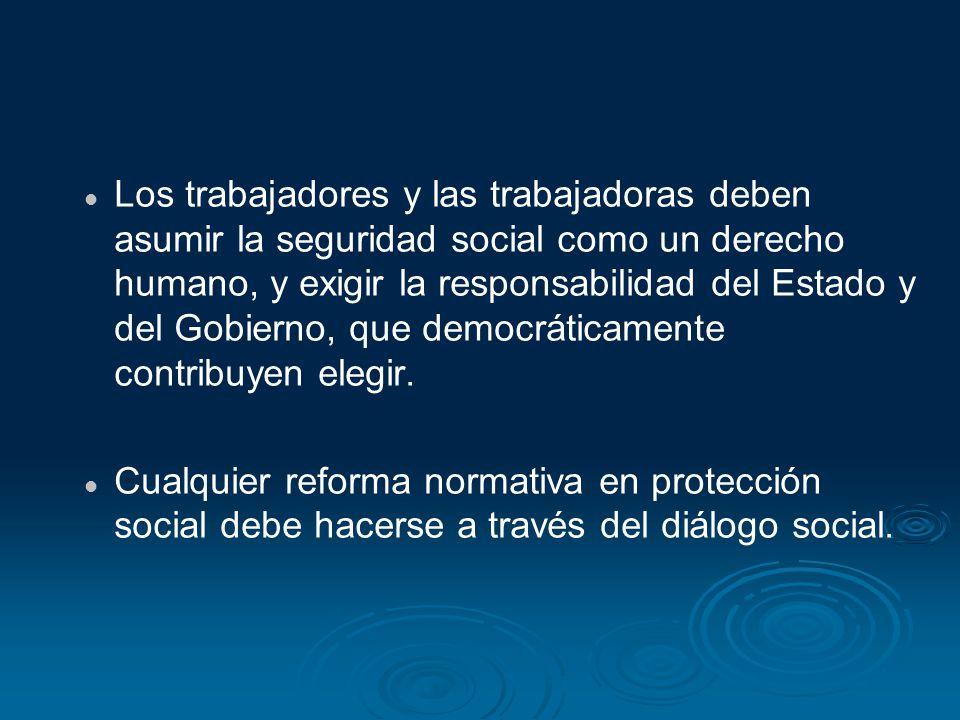Los trabajadores y las trabajadoras deben asumir la seguridad social como un derecho humano, y exigir la responsabilidad del Estado y del Gobierno, qu
