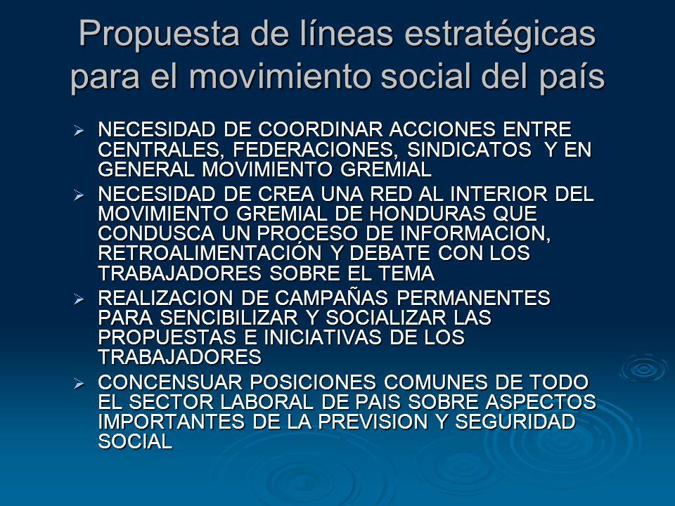Propuesta de líneas estratégicas para el movimiento social del país NECESIDAD DE COORDINAR ACCIONES ENTRE CENTRALES, FEDERACIONES, SINDICATOS Y EN GEN