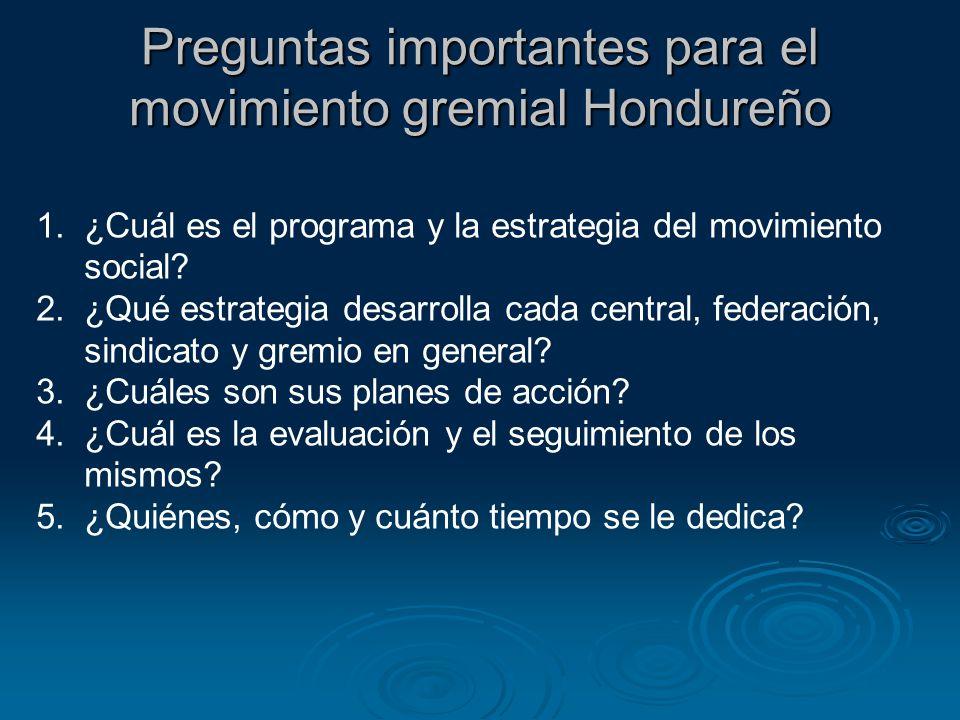 Preguntas importantes para el movimiento gremial Hondureño 1.¿Cuál es el programa y la estrategia del movimiento social? 2.¿Qué estrategia desarrolla