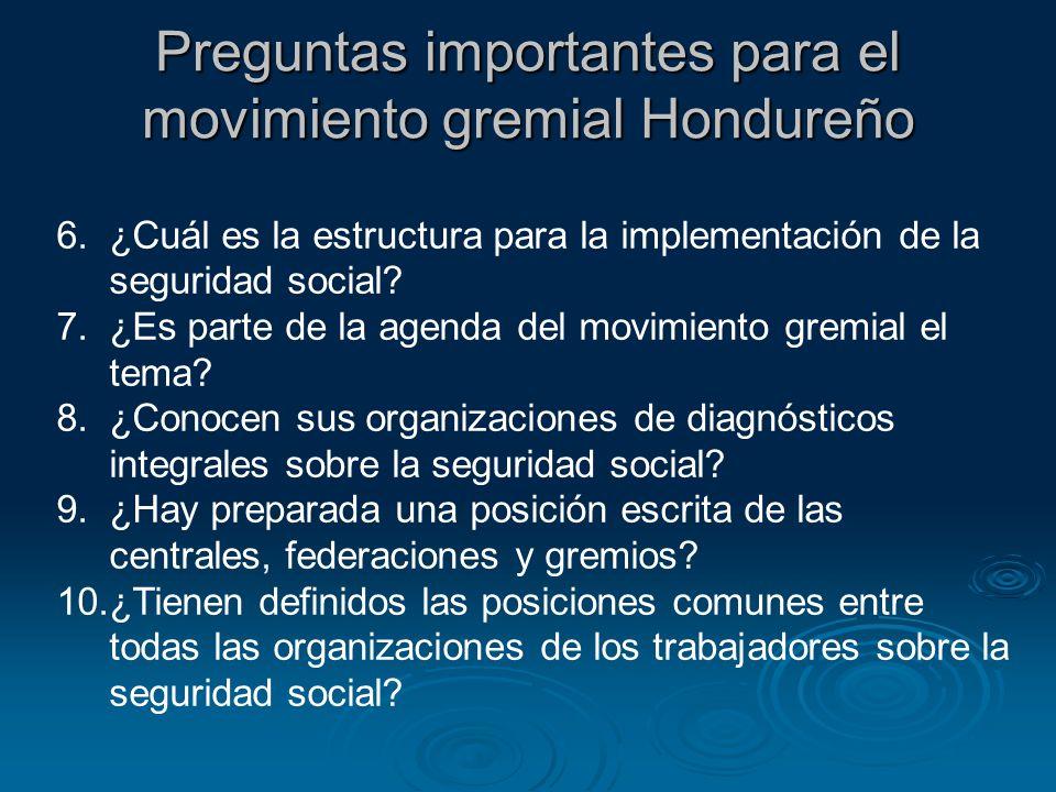 6.¿Cuál es la estructura para la implementación de la seguridad social? 7.¿Es parte de la agenda del movimiento gremial el tema? 8.¿Conocen sus organi