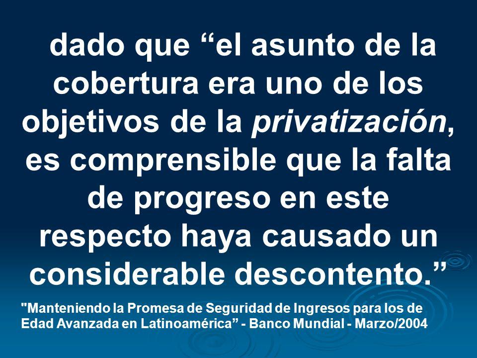 dado que el asunto de la cobertura era uno de los objetivos de la privatización, es comprensible que la falta de progreso en este respecto haya causad