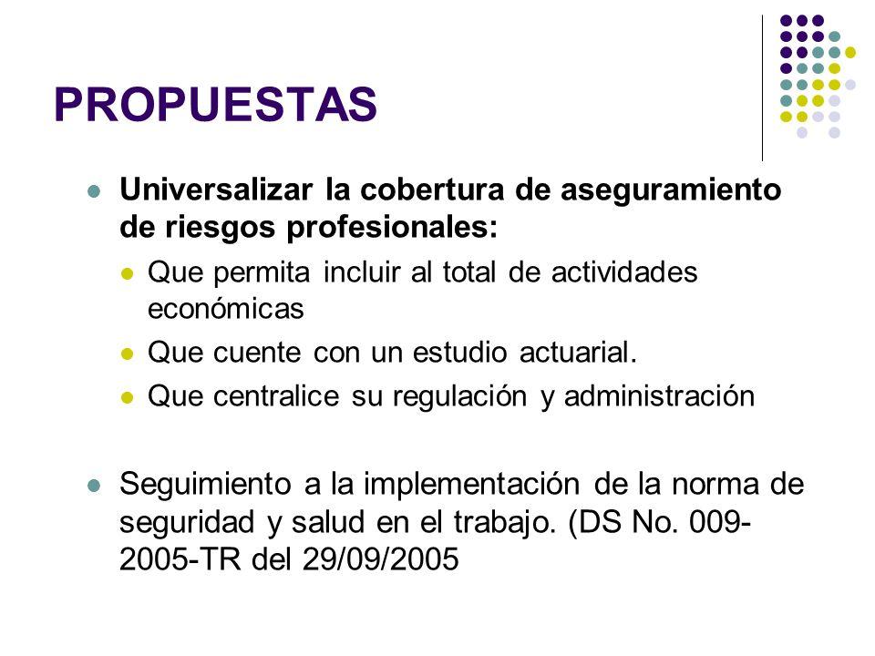 PROPUESTAS Universalizar la cobertura de aseguramiento de riesgos profesionales: Que permita incluir al total de actividades económicas Que cuente con un estudio actuarial.