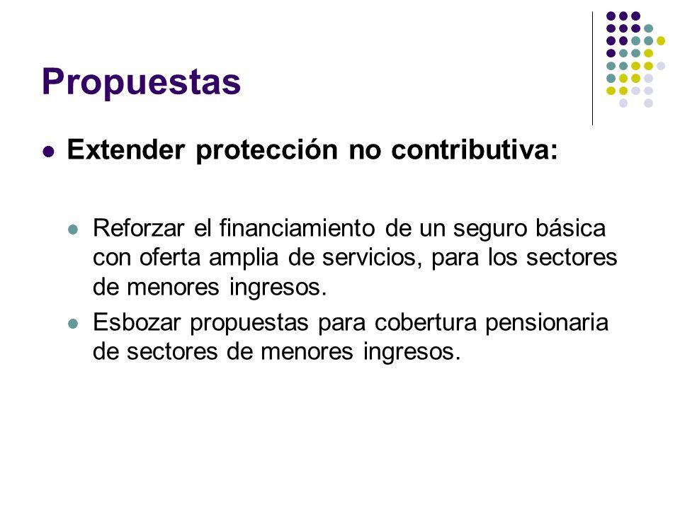 Propuestas Extender protección no contributiva: Reforzar el financiamiento de un seguro básica con oferta amplia de servicios, para los sectores de menores ingresos.
