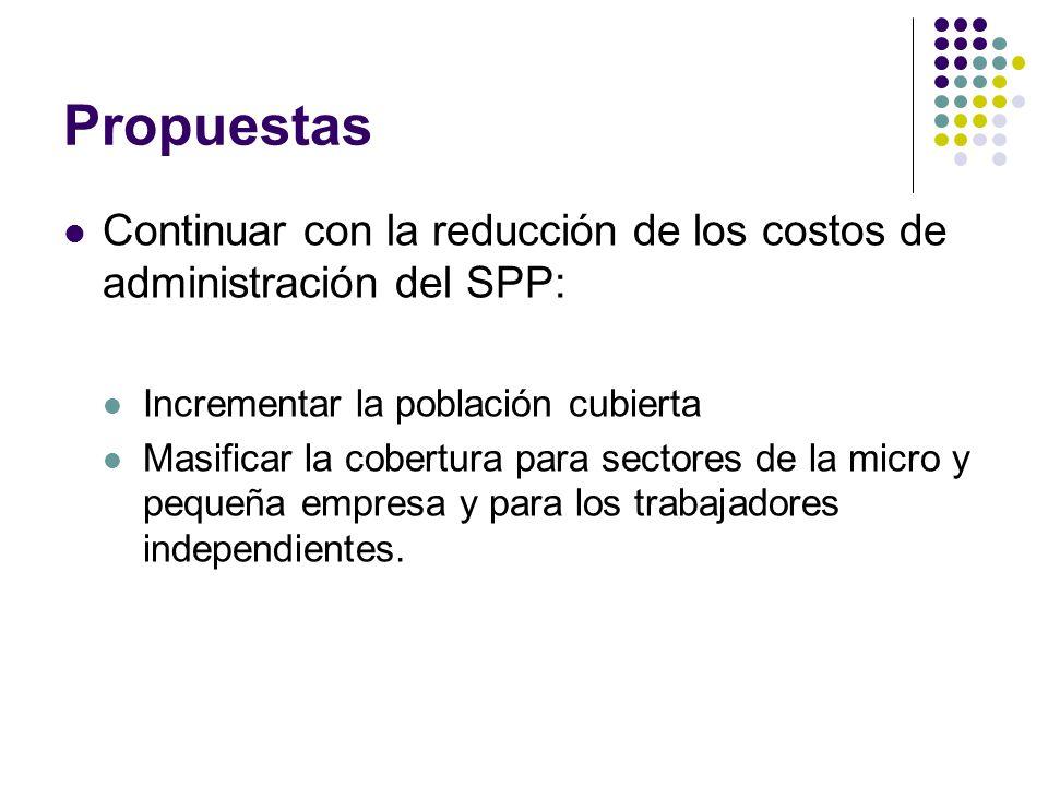 Propuestas Continuar con la reducción de los costos de administración del SPP: Incrementar la población cubierta Masificar la cobertura para sectores de la micro y pequeña empresa y para los trabajadores independientes.