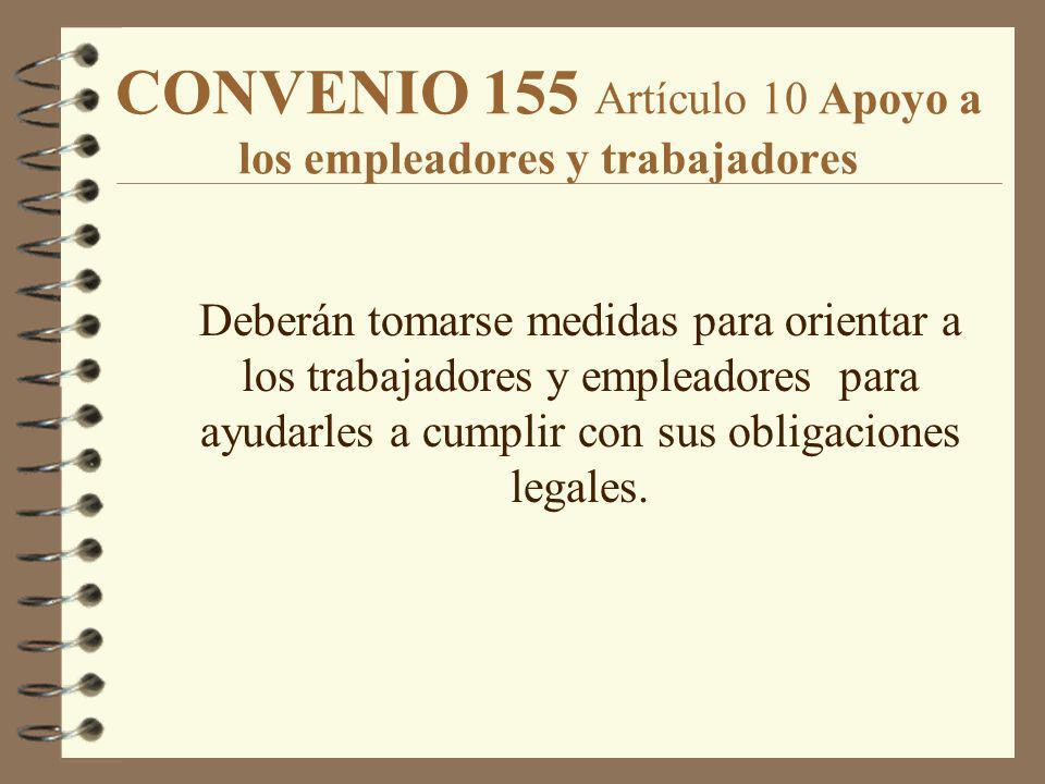 CONVENIO 155 Artículo 10 Apoyo a los empleadores y trabajadores Deberán tomarse medidas para orientar a los trabajadores y empleadores para ayudarles