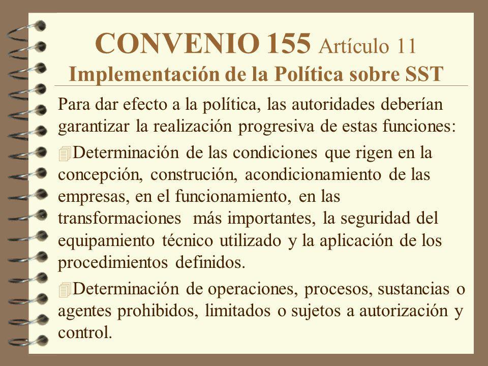 CONVENIO 155 Artículo 11 Implementación de la Política sobre SST Para dar efecto a la política, las autoridades deberían garantizar la realización pro