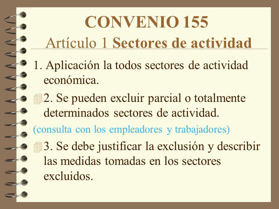 CONVENIO 155 Artículo 1 Sectores de actividad 1. Aplicación la todos sectores de actividad económica. 4 2. Se pueden excluir parcial o totalmente dete
