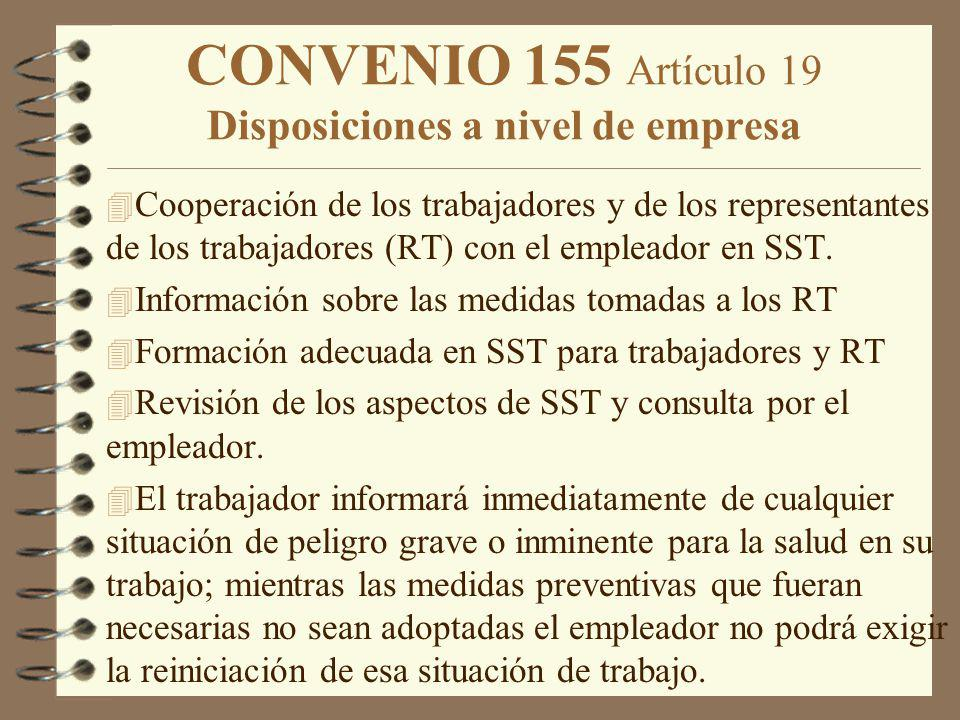 CONVENIO 155 Artículo 19 Disposiciones a nivel de empresa 4 Cooperación de los trabajadores y de los representantes de los trabajadores (RT) con el em