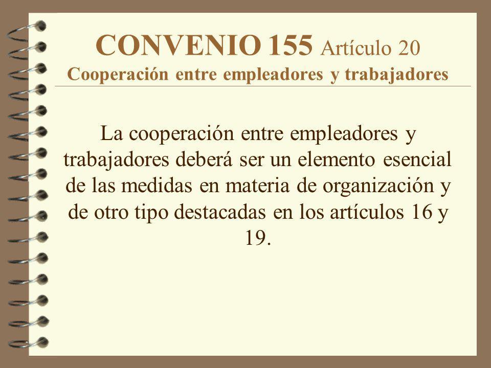 CONVENIO 155 Artículo 20 Cooperación entre empleadores y trabajadores La cooperación entre empleadores y trabajadores deberá ser un elemento esencial