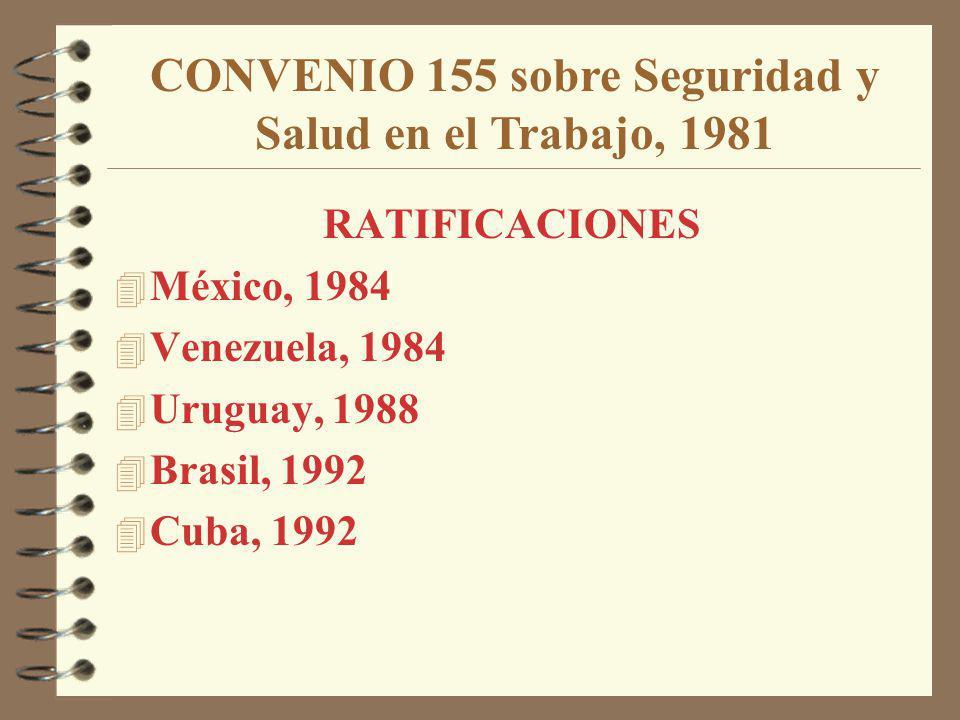 RATIFICACIONES 4 México, 1984 4 Venezuela, 1984 4 Uruguay, 1988 4 Brasil, 1992 4 Cuba, 1992 CONVENIO 155 sobre Seguridad y Salud en el Trabajo, 1981