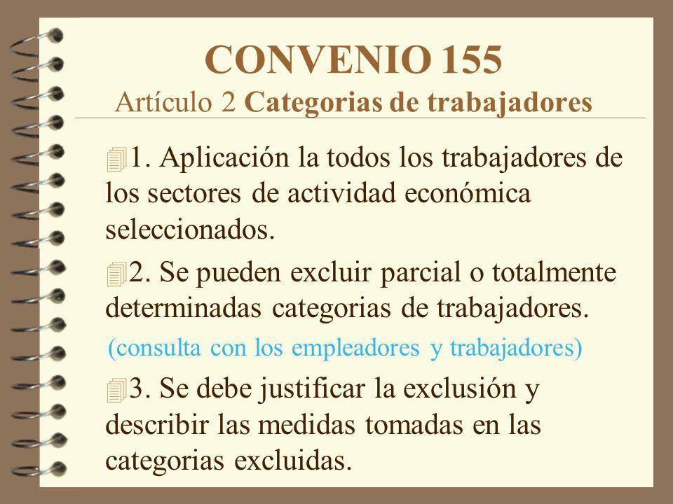 CONVENIO 155 Artículo 2 Categorias de trabajadores 4 1. Aplicación la todos los trabajadores de los sectores de actividad económica seleccionados. 4 2