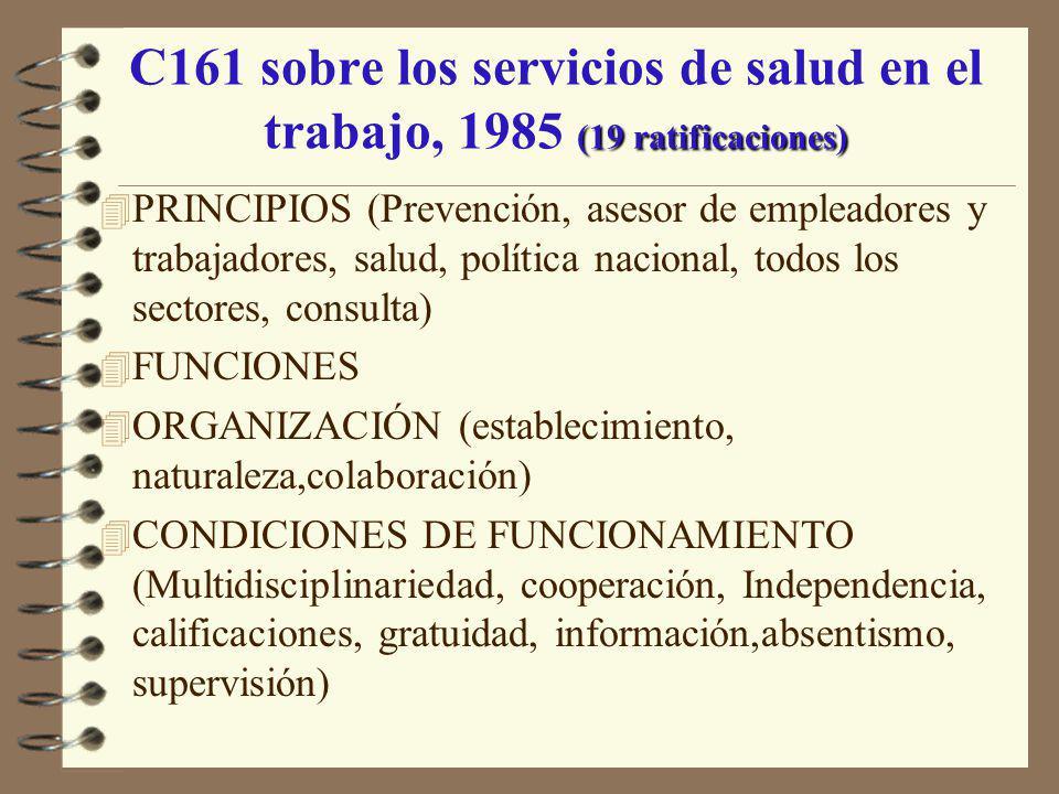 (19 ratificaciones) C161 sobre los servicios de salud en el trabajo, 1985 (19 ratificaciones) 4 PRINCIPIOS (Prevención, asesor de empleadores y trabaj