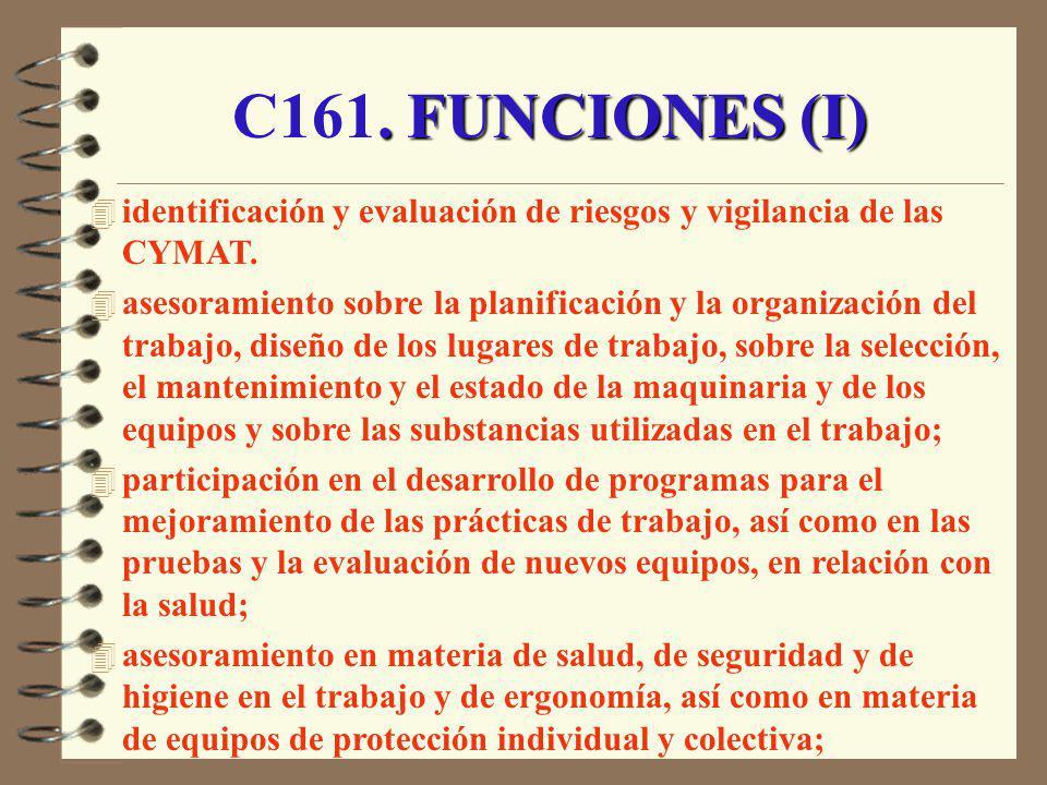 . FUNCIONES (I) C161. FUNCIONES (I) 4 identificación y evaluación de riesgos y vigilancia de las CYMAT. 4 asesoramiento sobre la planificación y la or