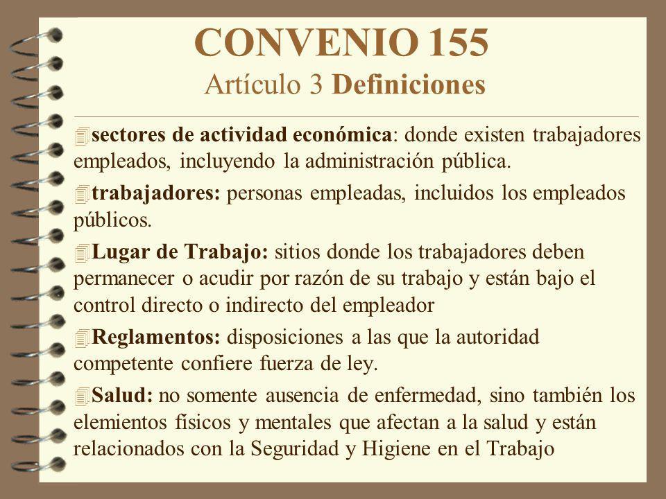 CONVENIO 155 Artículo 3 Definiciones 4 sectores de actividad económica: donde existen trabajadores empleados, incluyendo la administración pública. 4