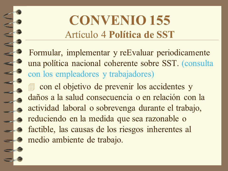 CONVENIO 155 Artículo 4 Política de SST Formular, implementar y reEvaluar periodicamente una política nacional coherente sobre SST. (consulta con los