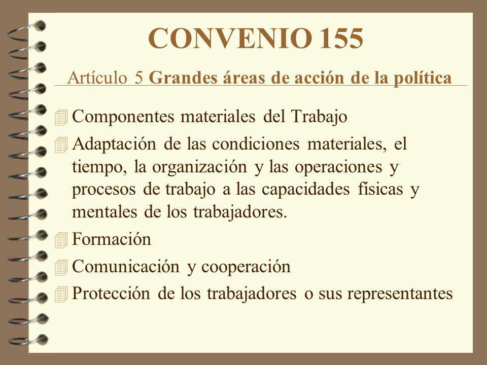 CONVENIO 155 Artículo 5 Grandes áreas de acción de la política 4 Componentes materiales del Trabajo 4 Adaptación de las condiciones materiales, el tie