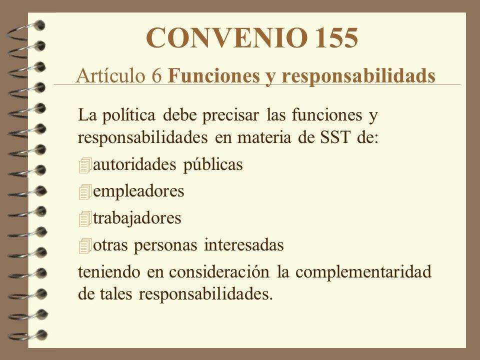 CONVENIO 155 Artículo 6 Funciones y responsabilidads La política debe precisar las funciones y responsabilidades en materia de SST de: 4 autoridades p