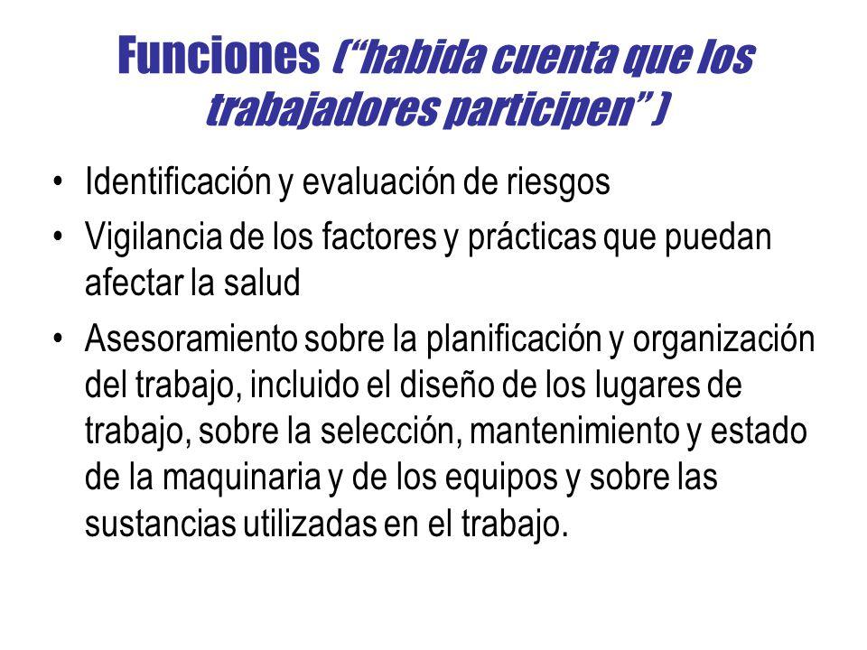 Funciones (habida cuenta que los trabajadores participen ) Identificación y evaluación de riesgos Vigilancia de los factores y prácticas que puedan af