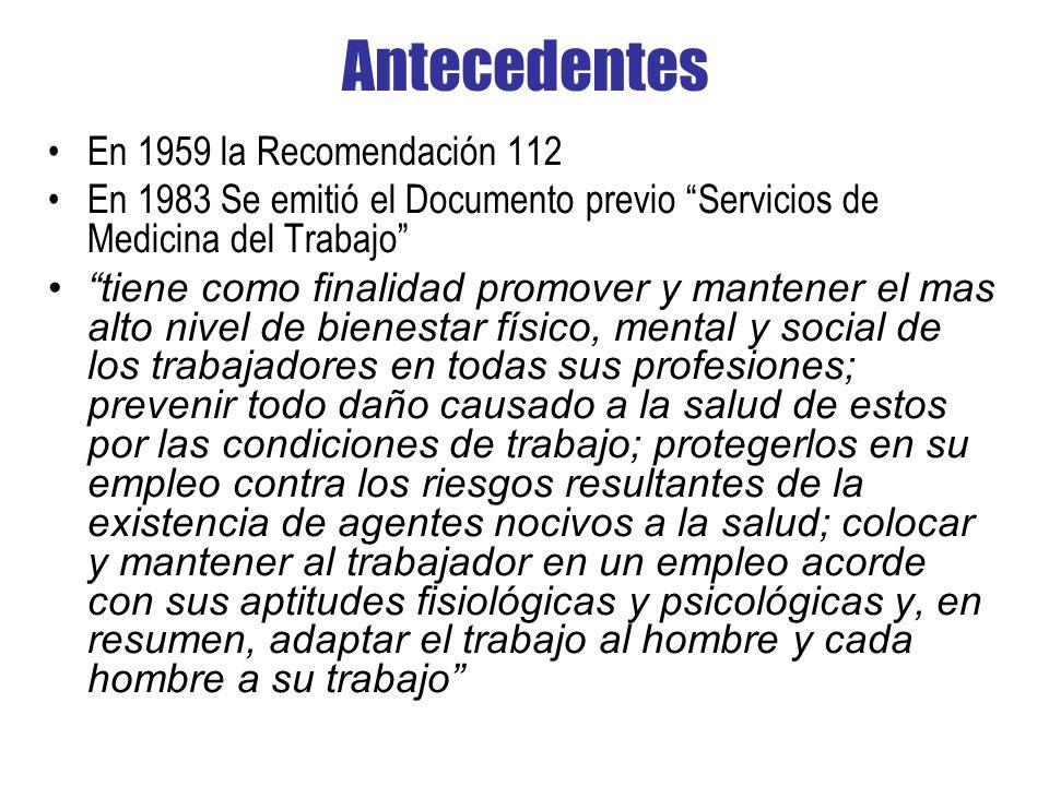 Antecedentes En 1959 la Recomendación 112 En 1983 Se emitió el Documento previo Servicios de Medicina del Trabajo tiene como finalidad promover y mant