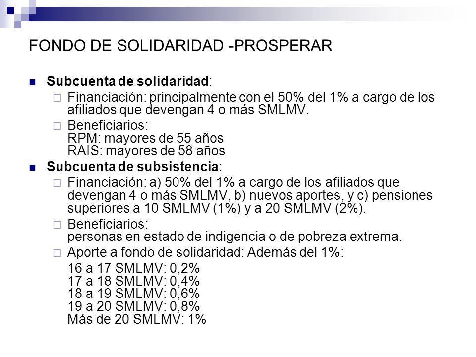 FONDO DE SOLIDARIDAD -PROSPERAR Subcuenta de solidaridad: Financiación: principalmente con el 50% del 1% a cargo de los afiliados que devengan 4 o más