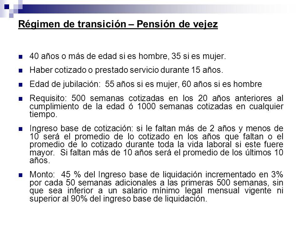Régimen de transición – Pensión de vejez 40 años o más de edad si es hombre, 35 si es mujer. Haber cotizado o prestado servicio durante 15 años. Edad