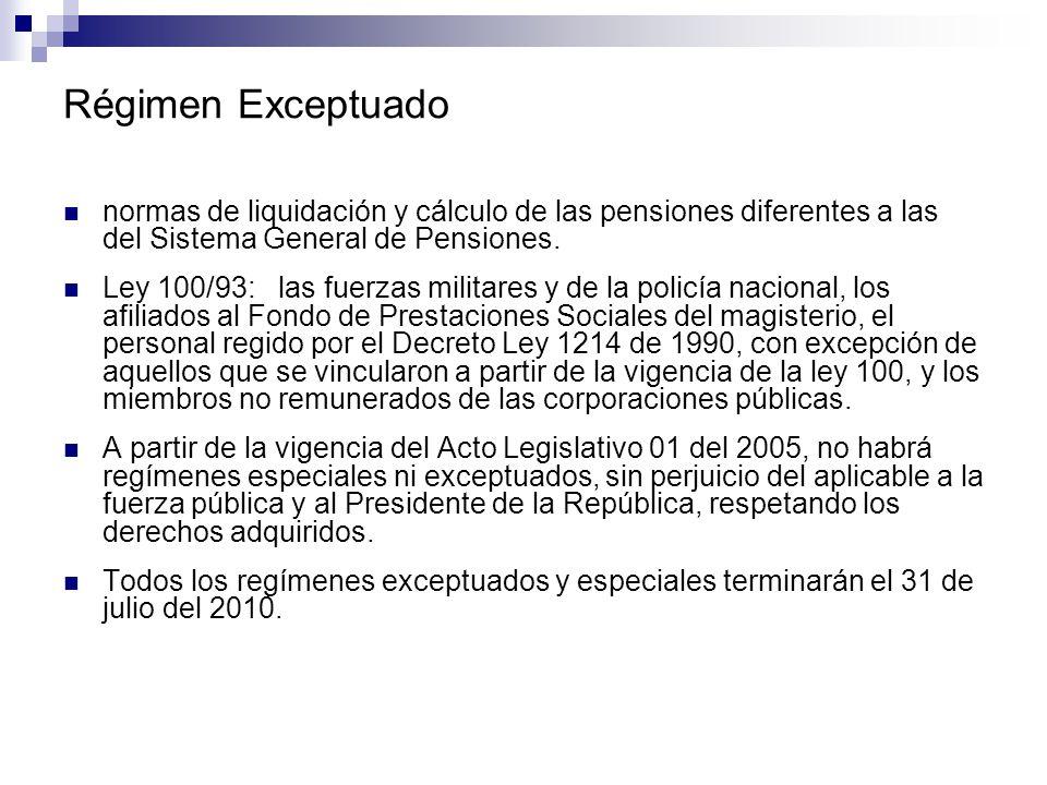 Régimen Exceptuado normas de liquidación y cálculo de las pensiones diferentes a las del Sistema General de Pensiones. Ley 100/93: las fuerzas militar