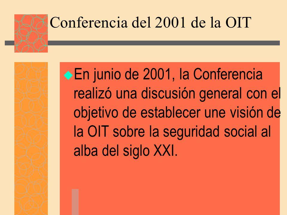 Conferencia del 2001 de la OIT En junio de 2001, la Conferencia realizó una discusión general con el objetivo de establecer une visión de la OIT sobre la seguridad social al alba del siglo XXI.