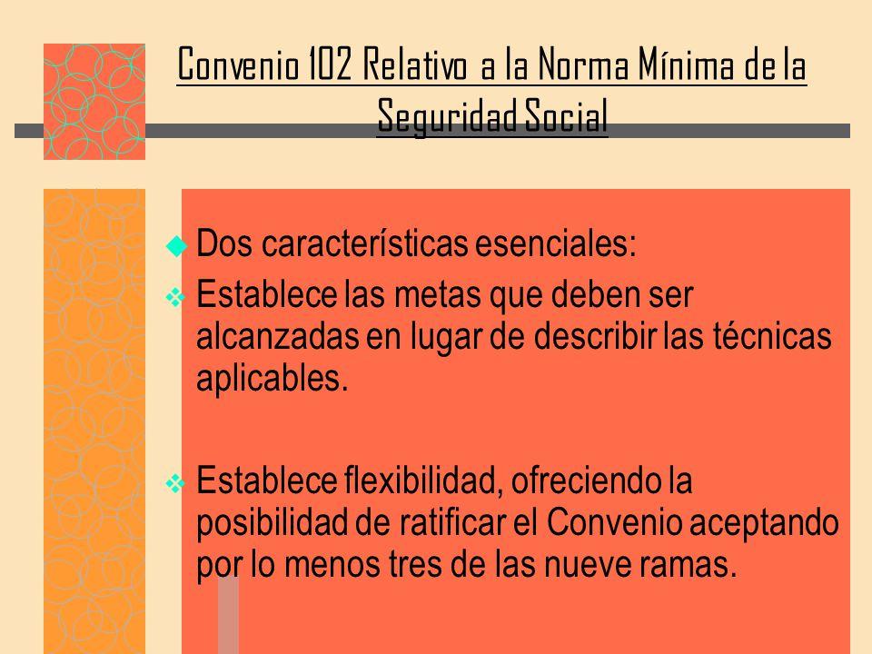 Convenio 102 Relativo a la Norma Mínima de la Seguridad Social Dos características esenciales: Establece las metas que deben ser alcanzadas en lugar de describir las técnicas aplicables.