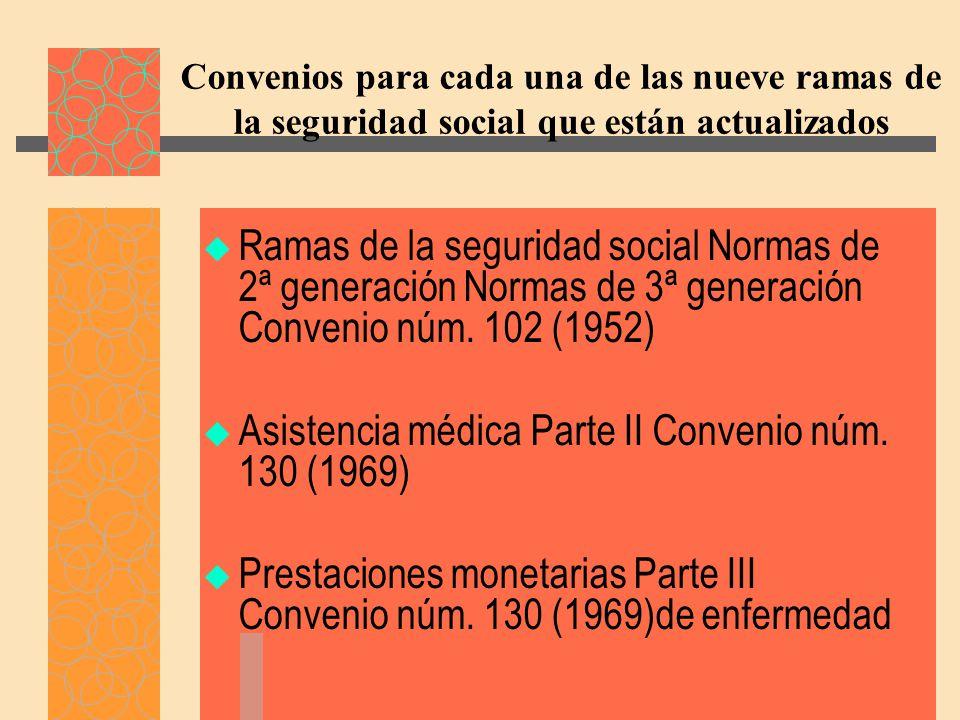 Convenios para cada una de las nueve ramas de la seguridad social que están actualizados Ramas de la seguridad social Normas de 2ª generación Normas de 3ª generación Convenio núm.