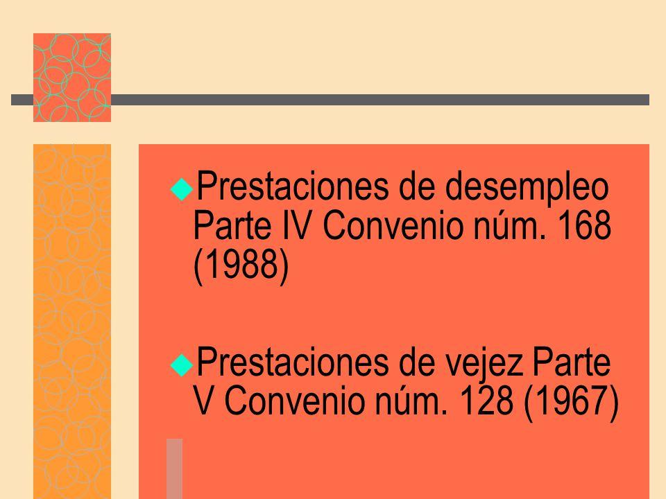 Prestaciones de desempleo Parte IV Convenio núm.