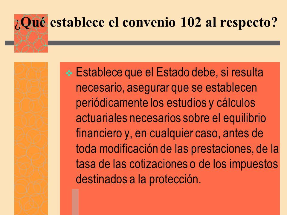 ¿Qué establece el convenio 102 al respecto.